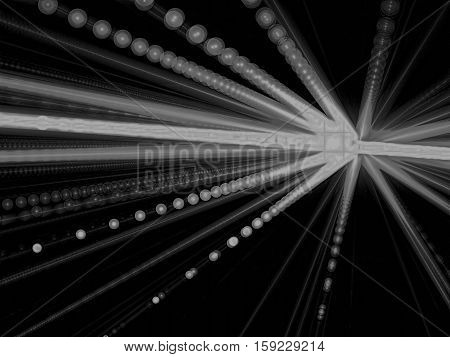Abstract simple background - computer-generated image. Fractal art: unusual star with bubbles. Motion blur. Technology backdrop or graphic design element.