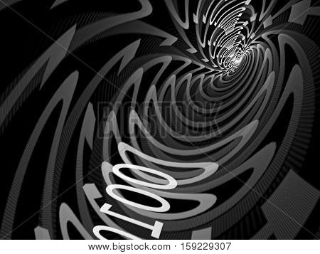 Abstract tech background - computer-generated image. Tunnel consisting of zero and one digit. Concept design element for internet, communication, information technology projects.