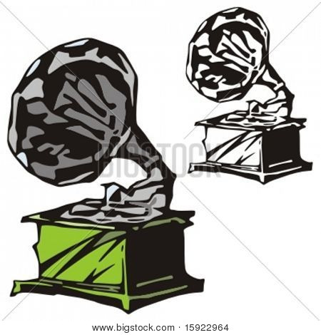 Music Instrument Series. Vector illustration of a gramophone.