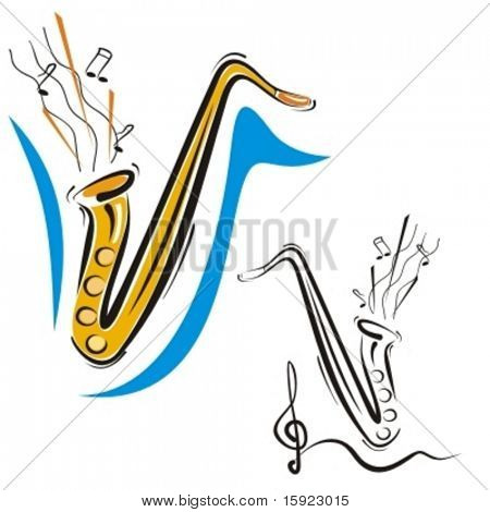 Music Instrument Series. Vector illustration of a saxophone.