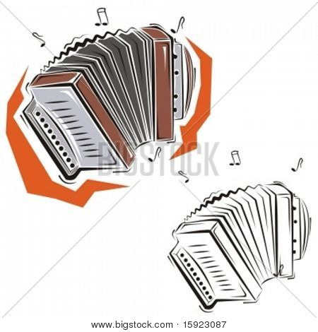 Music Instrument Series. Vector illustration of an accordion.