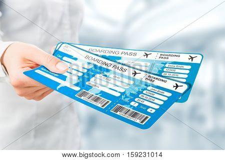 travel ticket air business pass hand destination fly document gate code departure tour abroad tourist airplane passenger focus concept - stock image