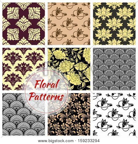 Floral background. Flourish flowery decor tiles set of baroque embellishments and ornamental rococo adornments. Drapery and tracery luxury backdrops. Flowery ornate ornament tiles