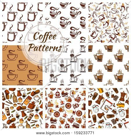 Coffee patterns set of vector coffee bean, cup, coffee mill, moka, cappuccino, coffee maker, turkish pot cezve, mill, grinder icons. Seamless background for cafe, cafeteria