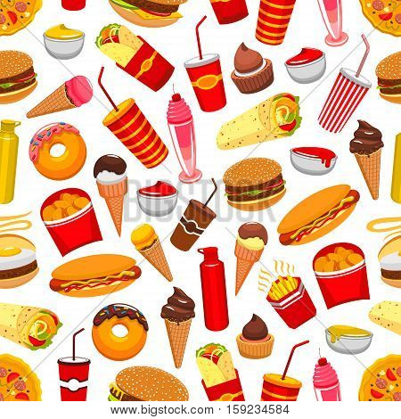 Fast food background. Seamless pattern with vector flat icons of cheeseburger, pizza, burrito, french fries, nachos chips, hot dog, soda drink, ice cream, popcorn, tacos, donuts, meal snacks, drinks desserts milk shake