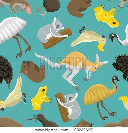 Australian kangaroo seamless pattern. Wildlife abstract cartoon animals art. Zoo national drawing texture. Vector mammal australia ethnic cultural background.