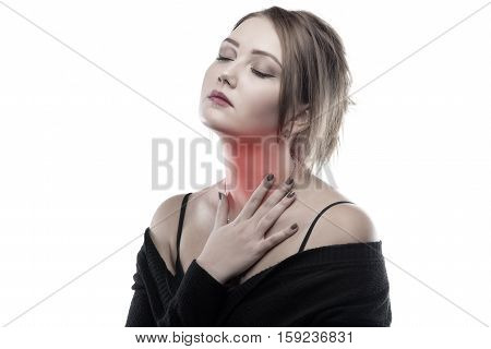 Blond woman with sore throat on white background