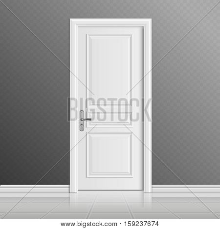 Closed white entrance door vector illustration. Doorway entrance in house, interior door illustration