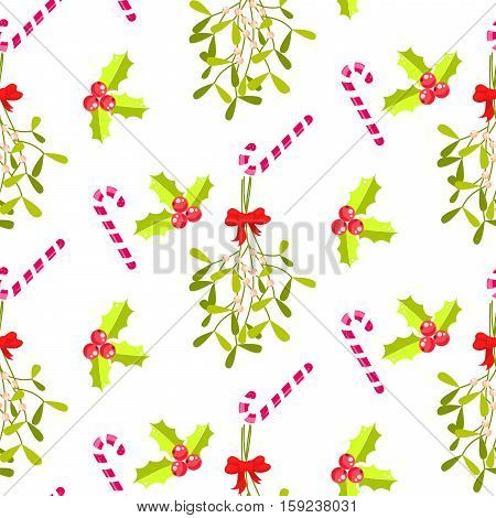 Festive kissing bough seamless vector pattern. Traditional plant tied with red bow. Holly berry and stripes candy cane white background.