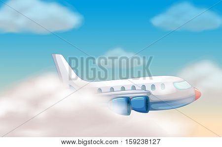 Airplane flying in the blue sky illustration