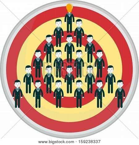 Conceptual vector illustration of stick figures standing in the shape of an arrow aim at target. Stock vector illustration
