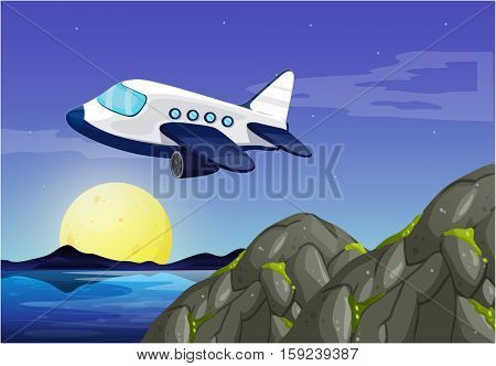 Airplane flying in sky at night illustration