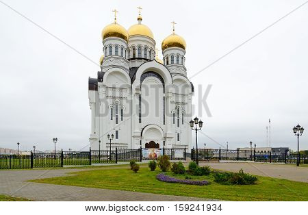 Saviour Transfiguration Cathedral in cloudy autumn day Mogilev Belarus