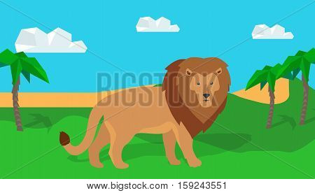 Funny lion in savanna. Lion king illustration. Lion walking on grass on savannah landscape. Animal adorable lion vector character. Natural landscape with desert and palm trees. Wildlife character