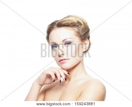 Beauty close-up portrait of beautiful, fresh and healthy girl. Human face isolated on white.