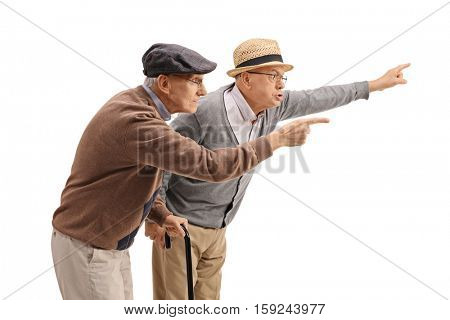 Two elderly men arguing with someone isolated on white background