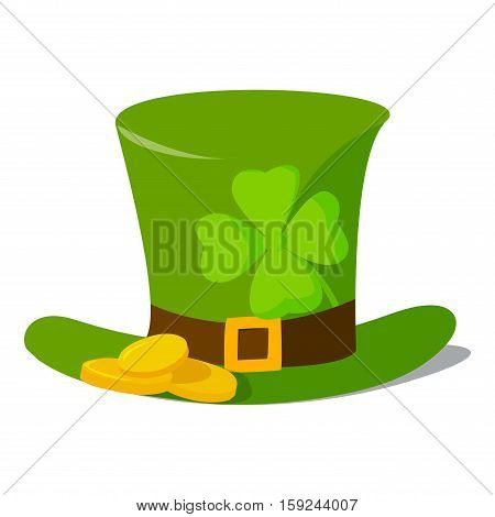 Leprechaun hat with clover quatrefoil. Vector illustration celebration luck day ireland party symbol. Traditional march celebrate patrick irish cap.