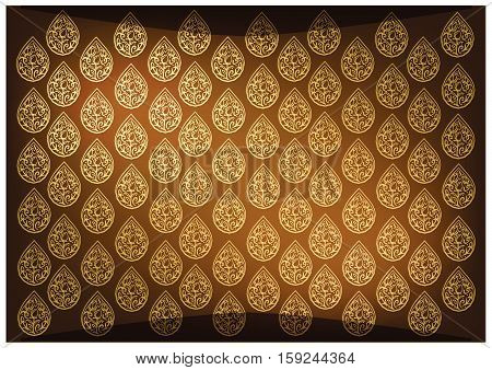 Thai Foral Pattern Illustration of Beautiful Golden Brown Vintage Texture Background for Add Content or Picture.