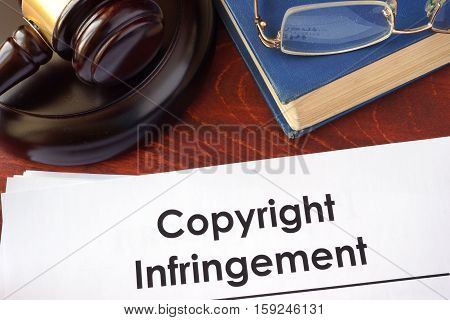 Copyright infringement form on an office table.