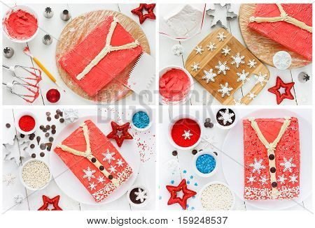 Ugly Christmas Sweater Cake for winter holiday party creative idea for Christmas New Year Xmas dessert food recipe step by step