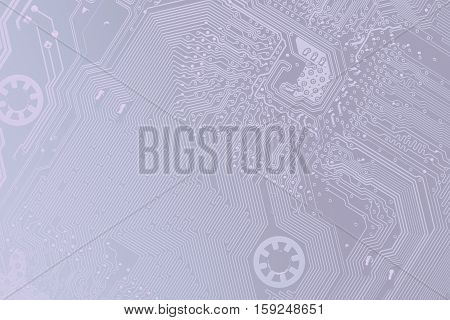 Close Up Of A Printed Blue Computer Circuit Board, In Light Blue Tones, As A Background For Your Bus