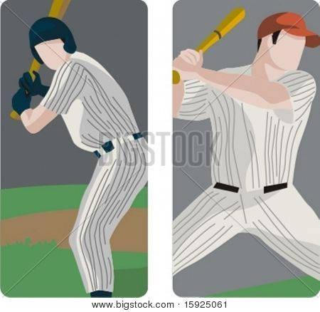 Sport illustrations series. A set of 2 baseball batters.