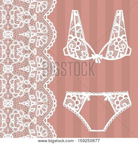 Hand drawn lingerie. Panty and bra set. Vector illustration