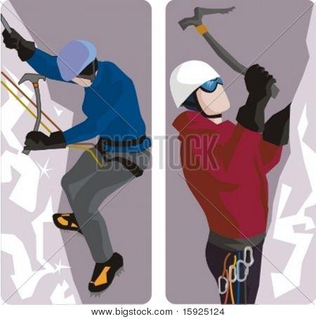 Serie de ilustraciones de deporte. Un conjunto de 2 ilustraciones de escalador.