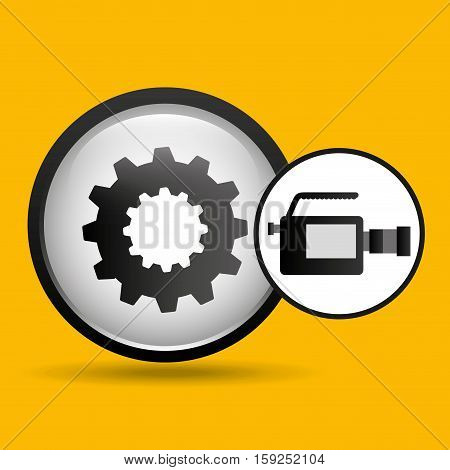 video production concept gear button vector illustration eps 10