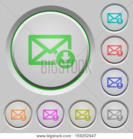 Receive mail color icons on sunk push buttons