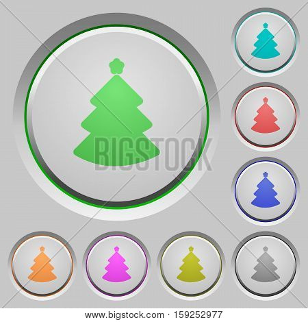 Christmas tree color icons on sunk push buttons