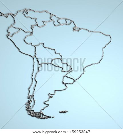 South America 3D illustration rendering Latin countries