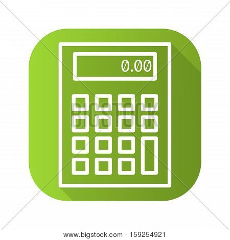 Calculator transceiver flat linear long shadow icon. Vector line symbol
