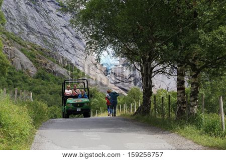 BRIKSDALSBRE, NORWAY - JULY 4, 2016: This is the road that leads to the Briksdalsbreen glacier.
