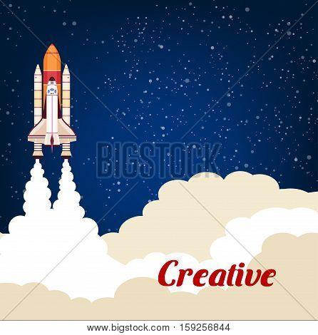 Rocket launching up into space. Creative concept of business project successful start metaphor. Flat design of starry cosmos sky for cosmonautics astronaut spaceship flight, spacecraft technology development for spaceman