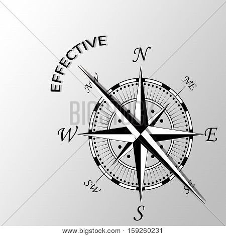Illustration of effective word written aside compass