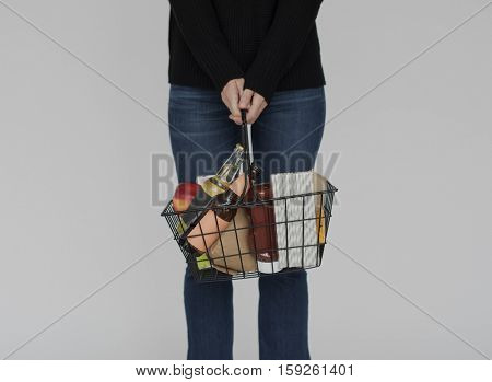 Woman Standing With Basket Concept