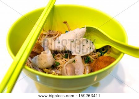 Close up Noodles with fish balls in bowl