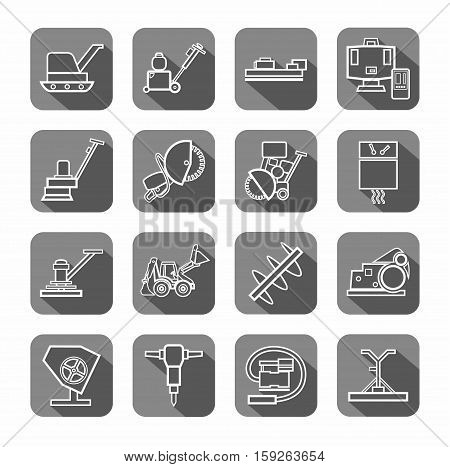 Equipment for working with concrete, contour icons, gray. Vector, the linear image of construction equipment. White figures on a gray background with shadow.