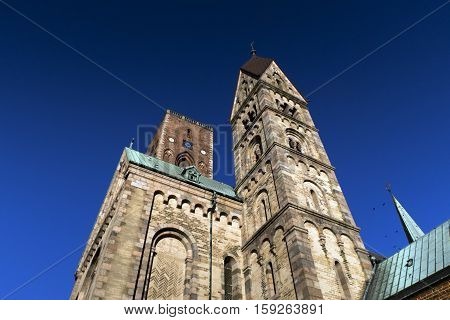 Ribe Cathedral in a low angle view. Famous Danish landmark.