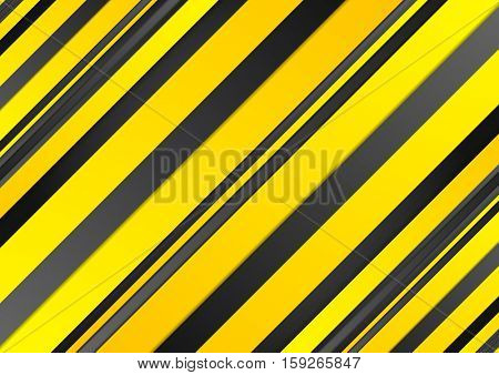 Abstract yellow and black stripes corporate background. Vector graphic tech design