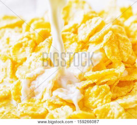 Milk Pouring  Into Corn Flakes