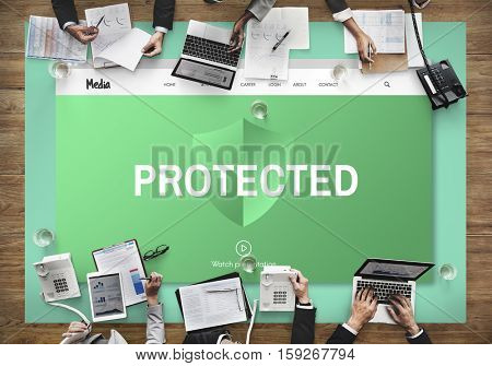 Internet Security Protected Protection Concept