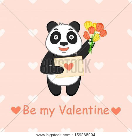 Be my Valentine. Cartoon vector illustration with funny panda, love letter and bouquet of tulip. Background with hearts.