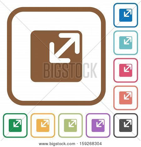 Resize window simple icons in color rounded square frames on white background