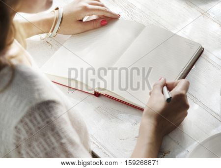 Woman Dairy Journal Concept