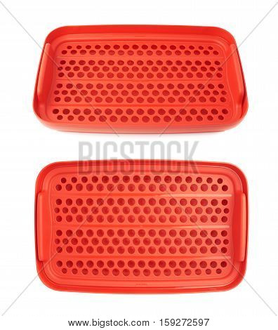 Red plastic tableware food container isolated over the white background