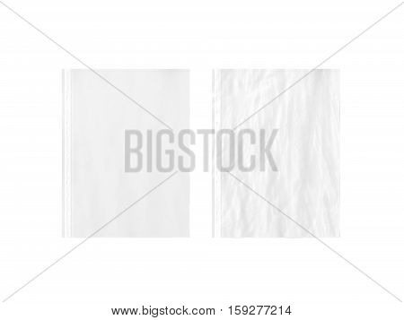 Blank white empty A4 transparent plastic sleeve mockup plain and creased 3d rendering. Stationery document protector wallet mock up.