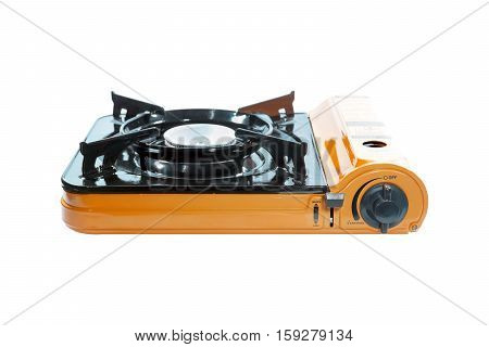 Portable picnic gas stove isolated on white background.