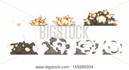 Bomb explosion process animation icons set from detonation to blast heat and shock waves isolated vector illustration
